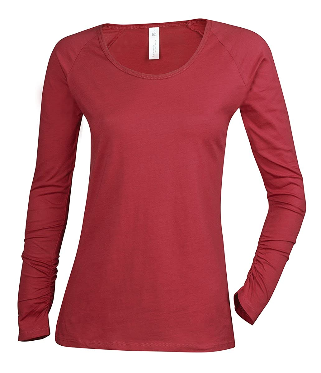 B&C Ladies Plain Long Sleeve 100% Cotton T-Shirt Top