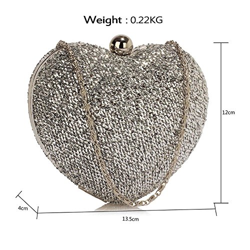 Design Bag Hardcase Womens Metallic 1 Heart Wedding Glittery Handbag Shiny Evening Bag Silver New Ladies Party Clutch 6Edndq
