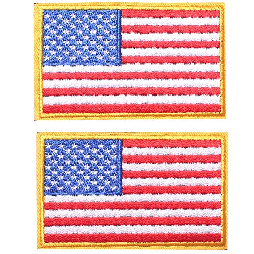 2 Pieces Tactical USA Flag Patch - Gold Border American Flag US United States of America Military Uniform Emblem Patches