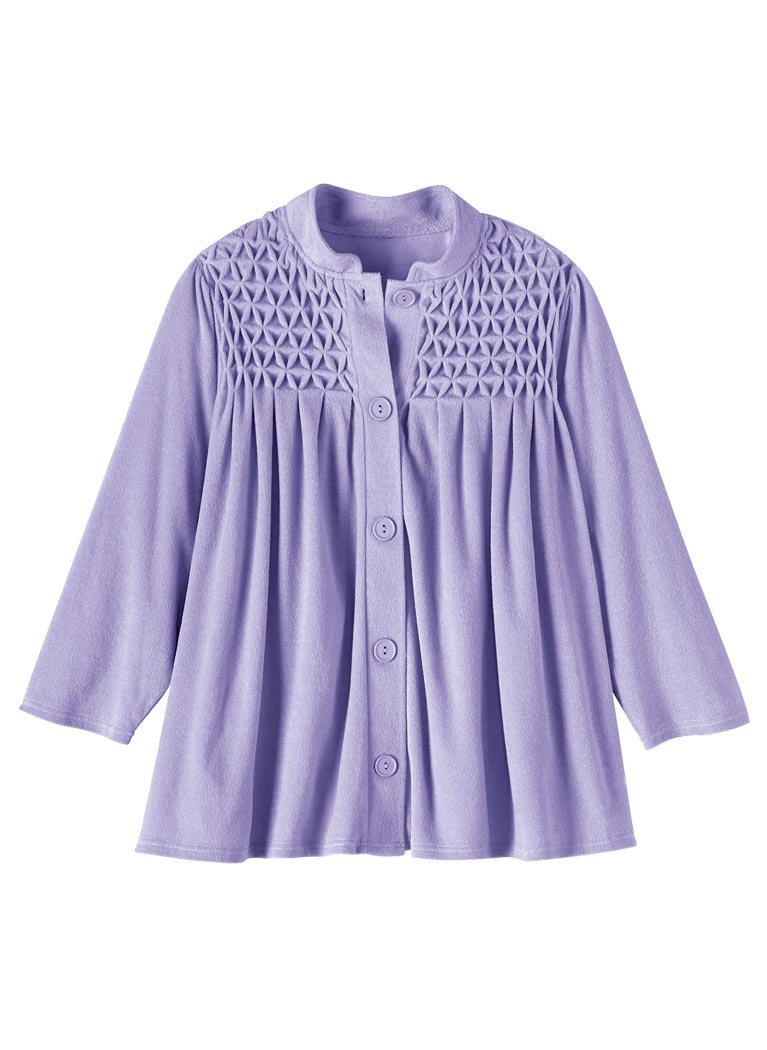 AmeriMark Women's Smocked Terry Bed Jacket LG (14-16)/Lavender by AmeriMark