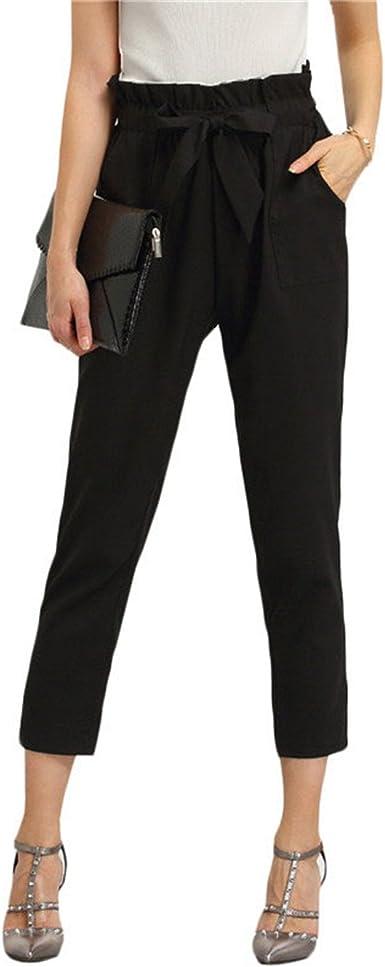 Amazon Com Pantalones De Trabajo Para Mujer Con Bolsillos Negros Cintura Ancha Y Pantalones Cortados Clothing