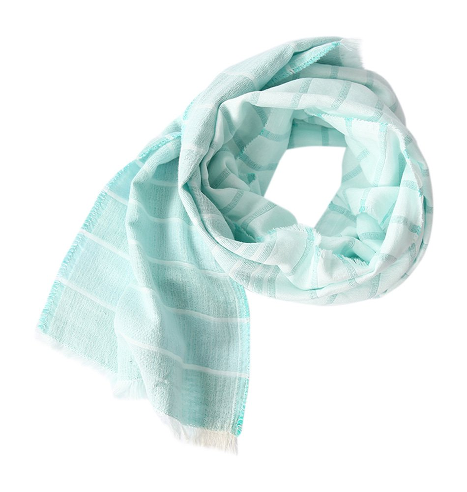 Cotton Striped Shawl Scarf Super Soft Long Lightweight Scarves For Women and Men (Small Size Mint)