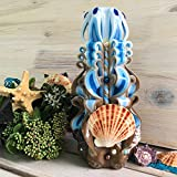 Carved candle handmade ''Sandy beach''. Sea candle, candle with seashells, sea style, sea, design carved candle exclusive carved candles blue and brown candle