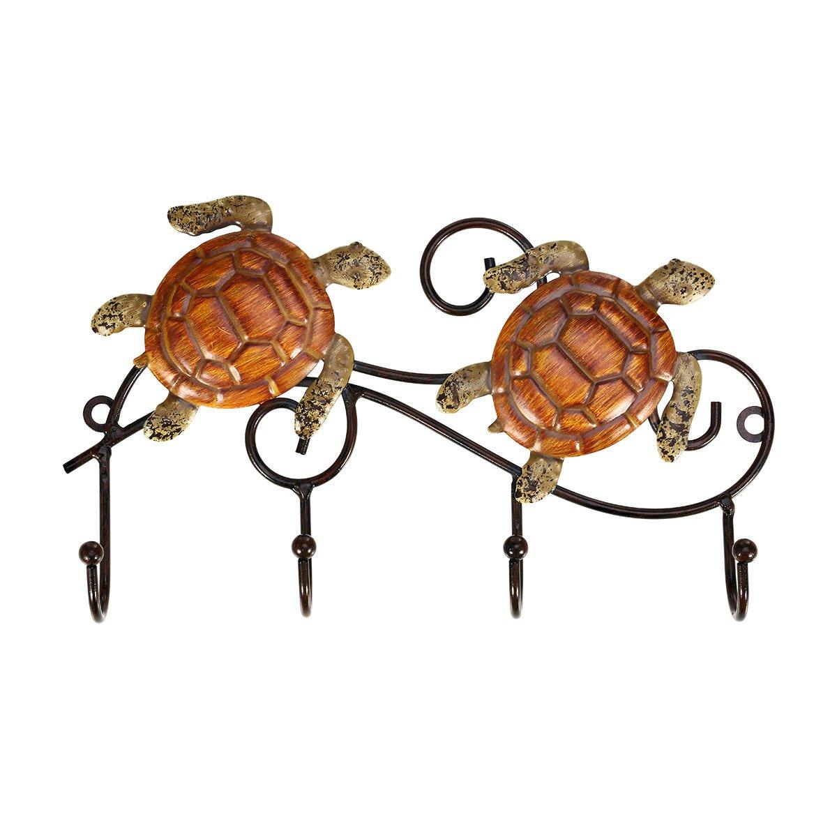 Tooarts Rustic Iron Wall Mounted Key Rack Holder Vintage Design with 4 Hooks Coats Keys Bags Hanger Wall Mounted Decorative Gift Idea