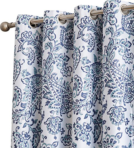 HLC.ME Amalfi Paisley 100% Blackout Room Darkening Thermal Lined Curtain Grommet Panels for Bedroom - Energy Efficient, Complete Darkness, Noise Reducing - Set of 2 (Navy Blue, 52