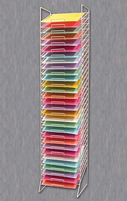 Perfect Scrapbook Paper Rack Tower White Organizer Storage Display 30 Slot  12u0026quot  ...