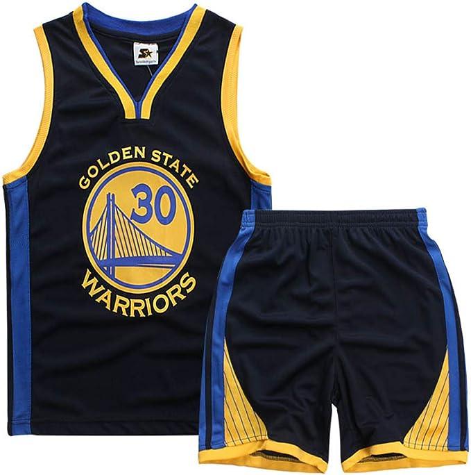 Camisetas de Baloncesto para niño y niña, Stephen Curry #30 Camiseta de Baloncesto para niño Chaleco Pantalones Cortos de Verano Camiseta NBA Golden State Warriors: Amazon.es: Ropa y accesorios