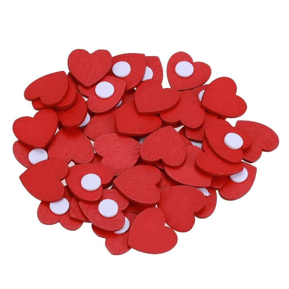 100 pegatinas de corazones de madera rojas hechas a mano para manualidades, álbumes de recortes, decoraciones de Navidad, adornos para boda, fiesta, manualidades, tarjetas Hpybest