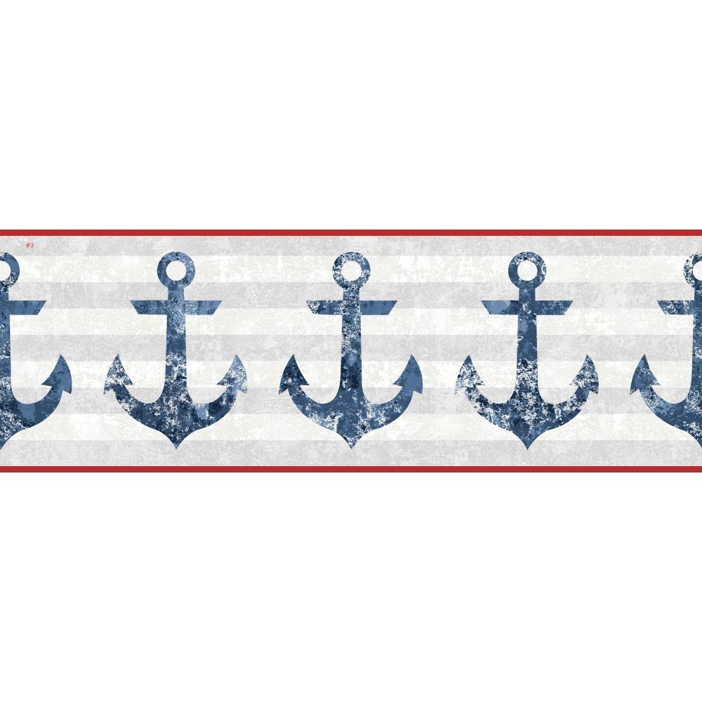York Wallcoverings Nautical Living Anchors Away Border, Cream/Pale Grey/Navy Blue/Smoky Blue/White
