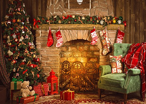 9x6ft Christmas Theme Christmas Tree Fireplace Pictorial Cloth Poly Fabric Photo Backdrops Customized Studio Background Studio Props SDJ-041]()