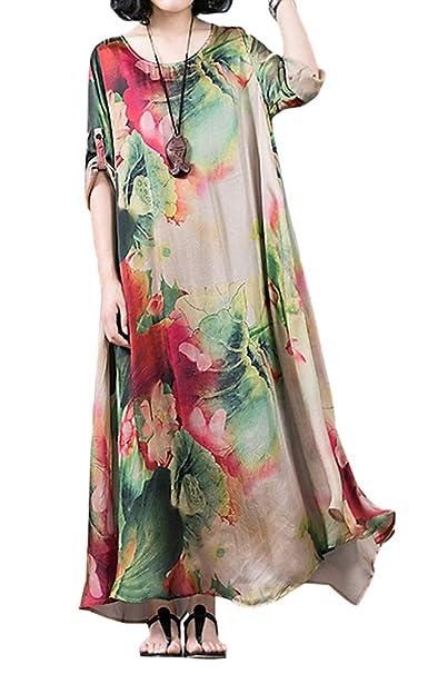 4e2fd7e841e BUYKUD Charming Women Casual Loose Retro Floral Silk Long Sleeves Dress  (Free Size) (