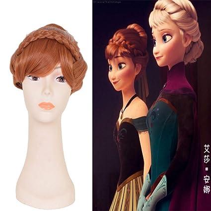 Frozen COS peluca Anna Aisha plato destaca estilo trenzado COS anime cosplay peluca