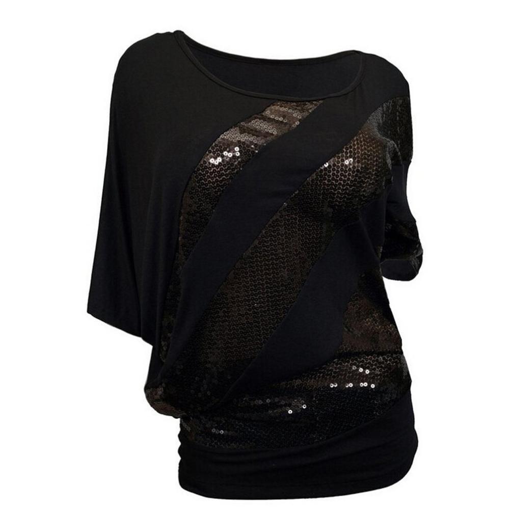 Ladies Kurzarm Rosennie Damen Mode Sexy Rundhals Pailletten Fledermaus T-Shirt Frauen Casual Tunika Top Bluse Plus Größe Oberteil Lässige Fashion Klassisch Elegante Blusen Sommerkleid