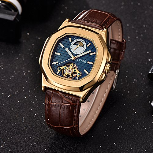 Skeleton Mens Automatic Mechanical Mens Wrist Watch - ManChDa Brown Genuine Leather Moon Sun Phase Blue Dial by ManChDa (Image #2)