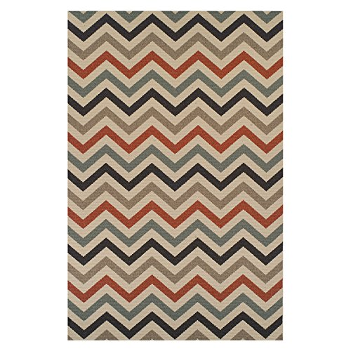 Superior Chevron Collection 8' x 10' Area Rug, Indoor/Outdoor Rug with Jute Backing, Durable and Beautiful Woven Structure, Contemporary Multi-colored Zig-Zag Pattern -