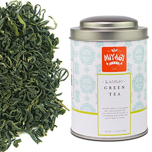 Miyagi Tea - Premium Laoshan Green Tea - Loose Leaf - 3.52oz (100g) / tin (Ice Peak Oolong Tea)