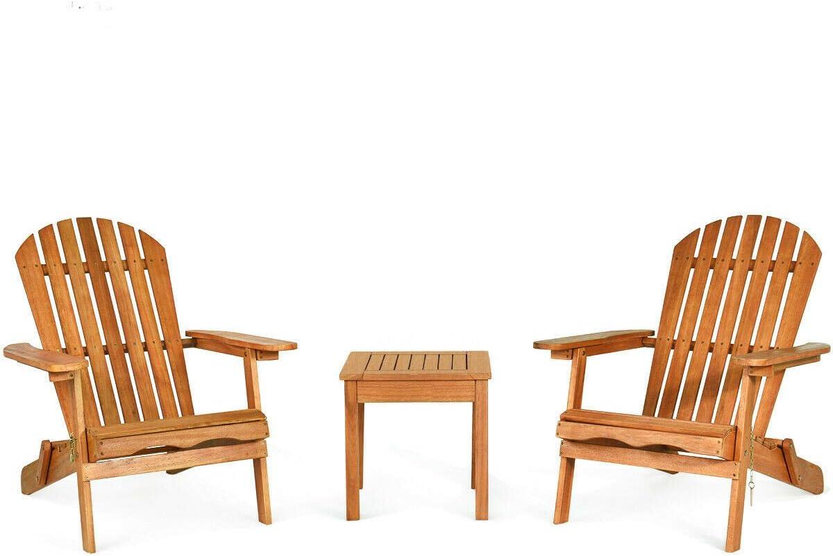 3 PCS Adirondack Chair Set w Widened Armrest