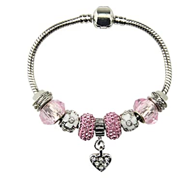Amazon.com: Silver Plated Heart Charm Bracelet with Charms for ...
