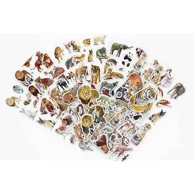 150 autocollants stickers animaux sauvages, dinosaures, chevaux en relief 3D
