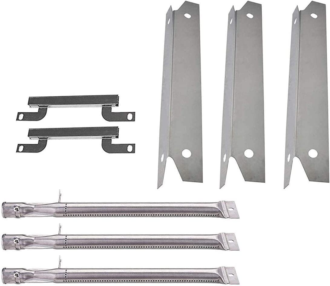 Votenli S9061A(3-Pack) S1048A(3-Pack) Replacement Stainless Steel Heat Plates and Stainless Steel Grill Burner Crossover Tube for Gas Grill Model Brinkmann 810-3330-S,810-3331-F