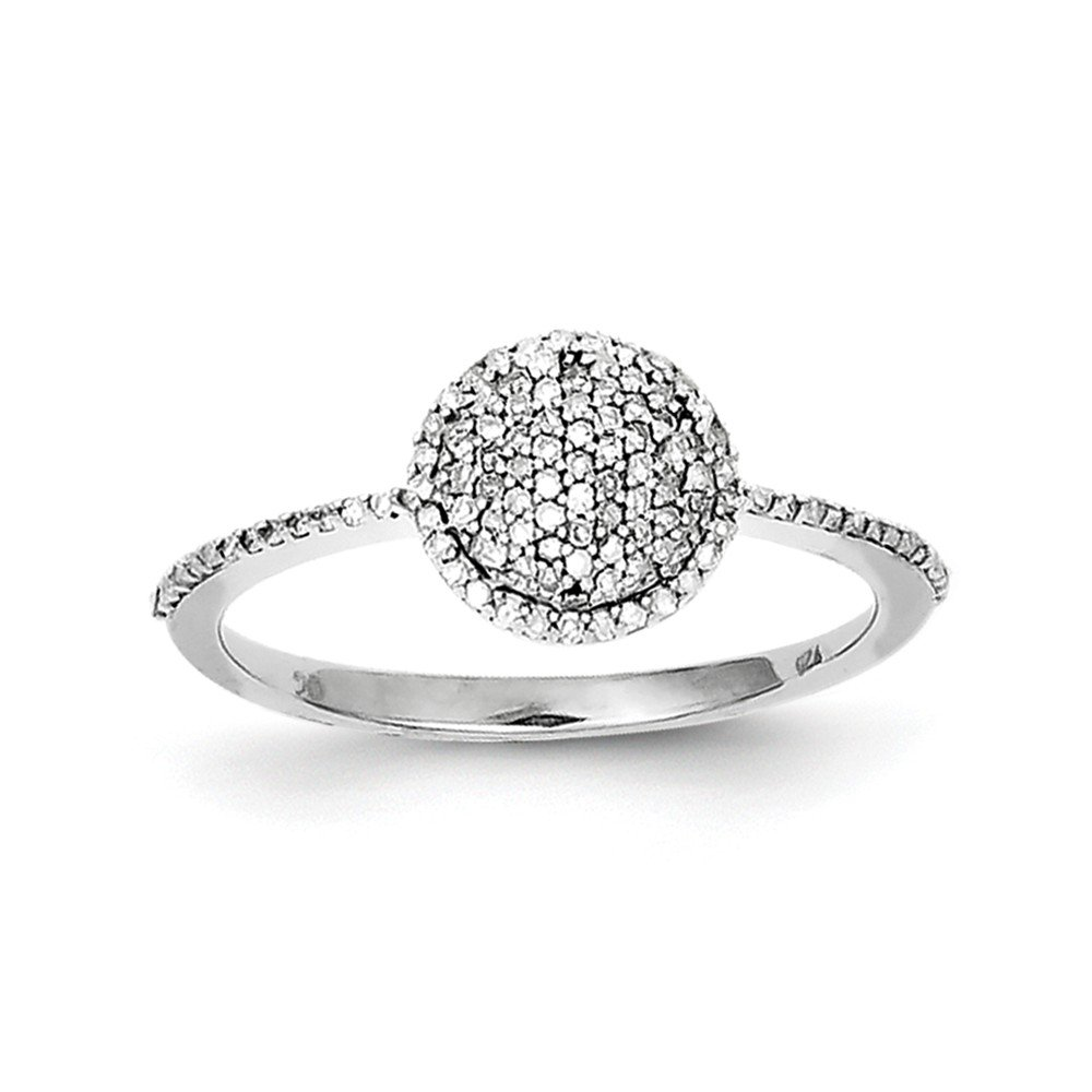 Size 6 Solid 925 Sterling Silver Diamond Round Ring (1mm) (1/5ct.)