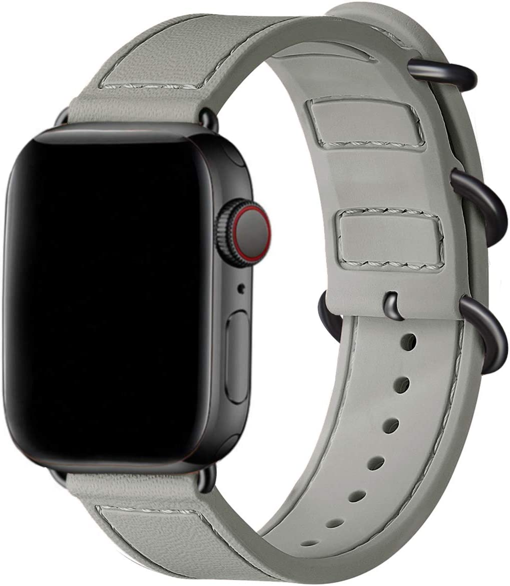 BesBand Compatible with Apple Watch Bands 44mm 42mm 40mm 38mm for Women Men,Soft Silicone Sport Strap Replacement Band for Apple Watch SE & iWatch Series 6/5/4/3/2/1 (Gray/Black, 42mm 44mm)