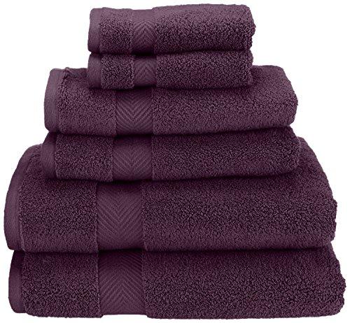 Superior Zero Twist 100% Cotton Bathroom, Super Soft, Fluffy, and Absorbent, Premium Quality 6 Piece Set with 2 Washcloths, 2 Hand, 2 Bath Towels, Grape Seed (6 Piece Towel Set Grape)