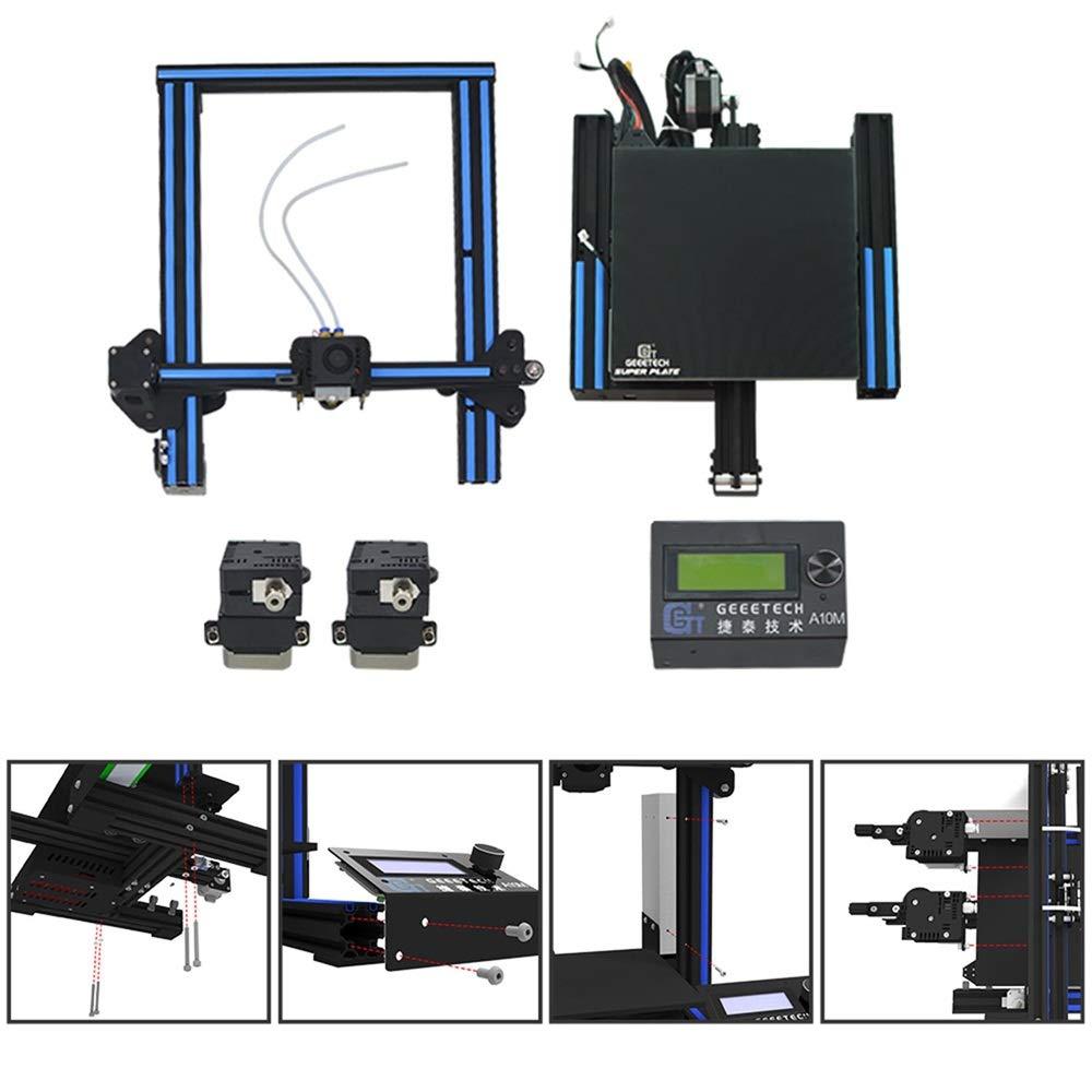 Dual de extruder de dise/ño Prusa I3 r/ápido de Kit DIY de montaje. Geeetech A10m Impresora 3d con Mix de color de impresi/ón Filamento Detector de metales y Break de resuming de funci/ón