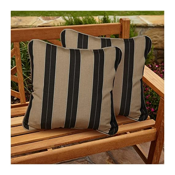 Mozaic AZPS0051 Indoor Outdoor Sunbrella Square Pillow with Corded Edges, Set of 2, 20 x 20, Brown & Black Stripes - Color: Sunbrella Black/ Beige Stripe Materials: Acrylic fabric, filled with 100% recycled polyester fiber Weather, mildew, fade and stain resistant with UV protection - patio, outdoor-throw-pillows, outdoor-decor - 612AErdzJOL. SS570  -