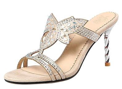 Easemax Femme Spécial Strass Talon Aiguille Stiletto Sandales Mules   Amazon.fr  Chaussures et Sacs d860b5e13200