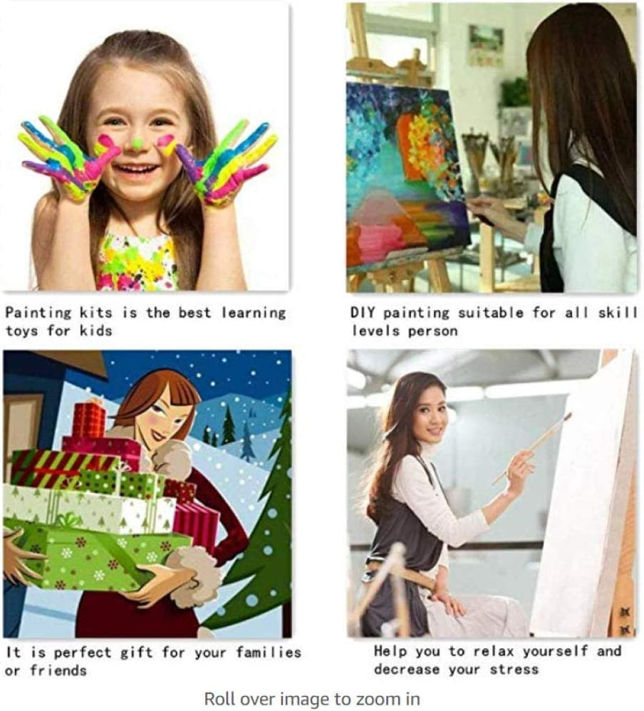 MEKVF Fai-da-Te Pittura A Olio su Tela Simpatici Animali Regalo per Adulti Bambini Dipingere da Numero Kit Decorazioni per La Casa 16 20 Pollici