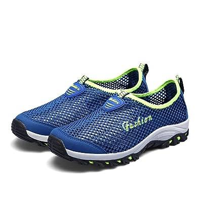 Sneaker de Mode Creux de Talon Plat pour Les Femmes et Les Hommes,Chaussures de Cricket (Color : Blue, Size : 35EU)