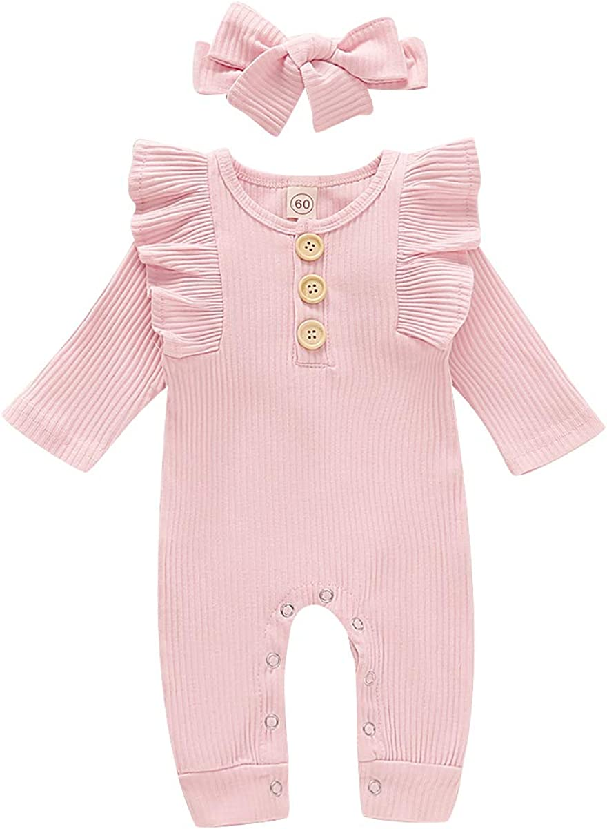 HZYKOK Newborn Baby Girls One Piece Jumpsuit, Infant Girl Knitted Romper Ruffle Long Sleeve Bodysuit Onesie Outfits