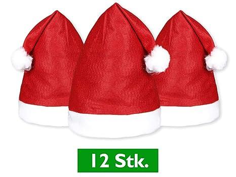 Set di 12 cappelli Babbo Natale (wm-32) cappellino rosso con bordino bianco 12d5d59b0bec
