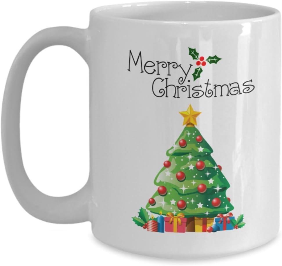 Amazon Com Christmas Coffee Mug Merry Christmas Christmas Tree Theme Inspired Novelty Mug 11 Oz Kitchen Dining