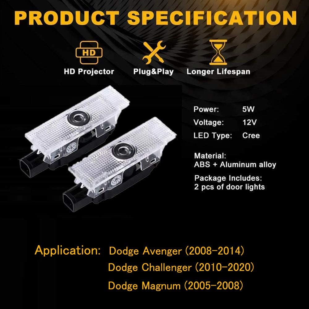 Dodge Door Light 2PCS Welcome Lights LED Charger Logo Projector Car Ghost Shadow Light Avenger03