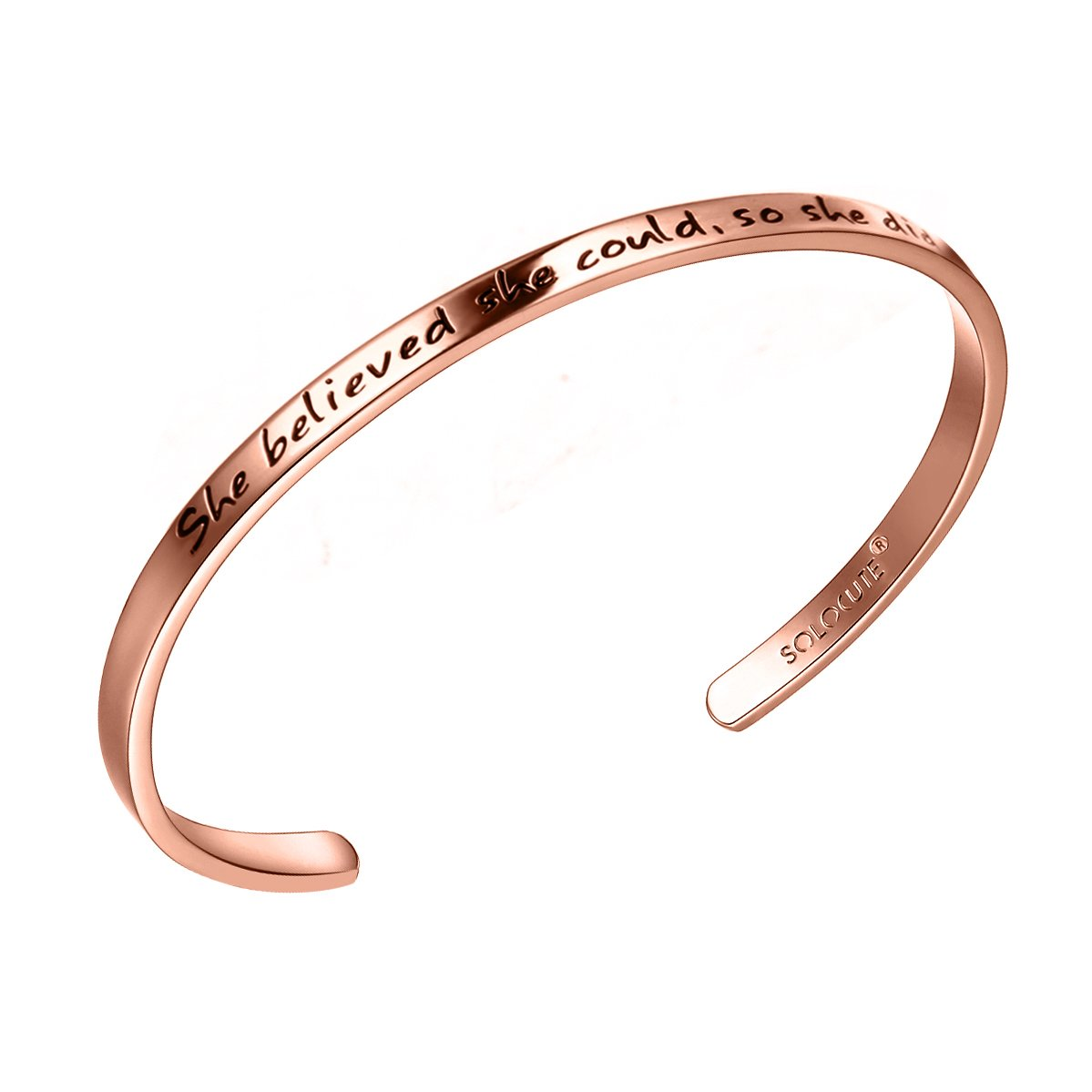 SOLOCUTE Rose Gold Cuff Bangle Bracelet Engraved ''She believed she could so she did'' Inspirational Jewelry, Perfect Gift for Christmas Day, Thanksgiving Day and Birthday
