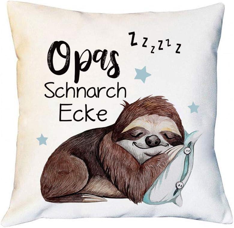 Geschenk f/ür Opa Gro/ßeltern Tassenbrennerei Faultier Kissen mit Spruch Opas Schnarchecke