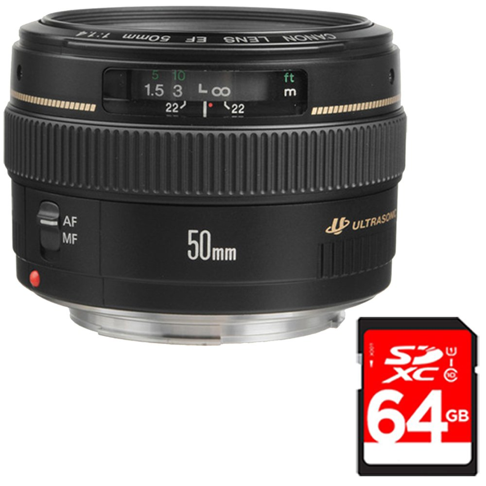 Canon EF 50mm f/1.4 USM Standard & Medium Telephoto Lens for Canon SLR Cameras (2515A003) with 64GB SDXC Class 10 High Speed Memory Card by Beach Camera