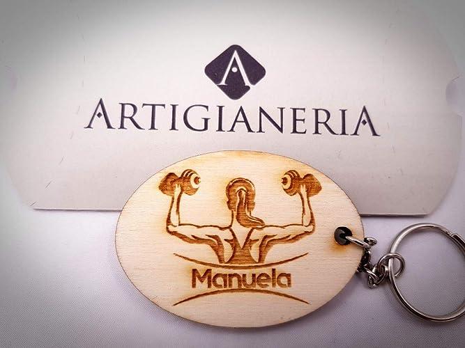 Artigianeria portachiavi in legno personalizzato con nome o testo