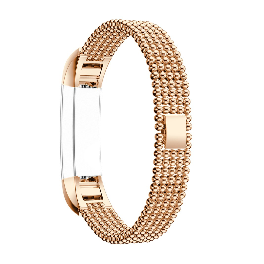 For Fitbit Alta Watch Band, Fitbit Alta HR Bands, Rosa Schleife Fitbit Fitness Watch Band Stainless Steel Smart Watch Adjustable Replacement Bands with Connectors for Fitbit Alta/Alta HR - Rose Gold