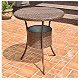 MD Group Patio Table 31.5'' Rattan Weather & UV Resistant with Ice Bucket