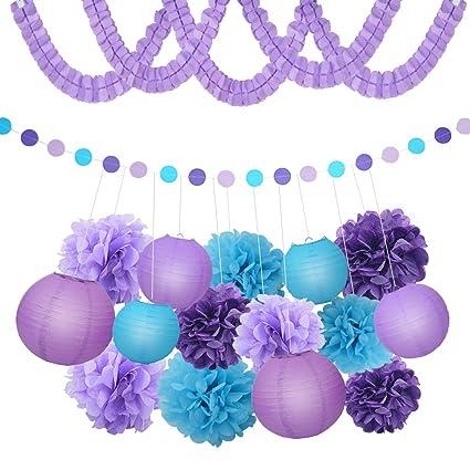 XFunino Paper Lanterns Decorations Purple Pom Poms Happy Birthday Tissue Polka Dot Party For