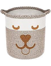 "CAMBODRA Pet Toy Basket Storage - Smiley Face Dog Cotton Rope Laundry Basket Brown Blanket Storage Bin Dog Toy Storage Box Woven Living Room Organizer Bins 15"" x 15"""