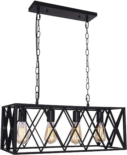 OYIPRO Industrial Kitchen Island Light, 4 Lights Chandelier Farmhouse Hanging Fixture Retro Ceiling Light Rectangular Rectangle Vintage Metal Caged Gu