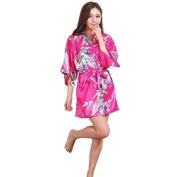 ALJL Bata de Dormir Seda Kimono de Raso de Las Mujeres Albornoz Corta Pijamas cómodos Albornoz Suelta Moda de la Camiseta Albornoz roja de Rose,Rose Red ...