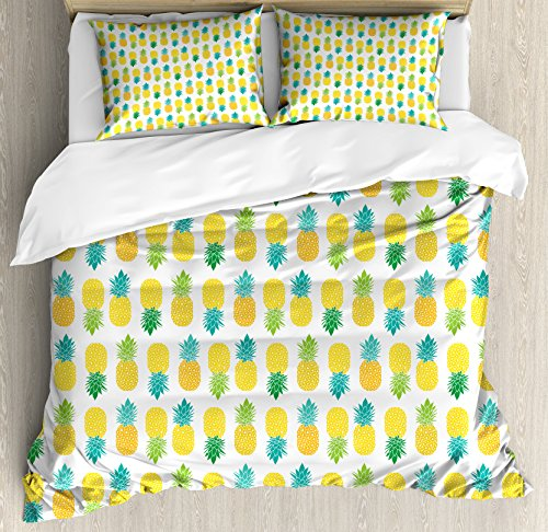 Ambesonne Green and Yellow Queen Size Duvet Cover Set by, Fresh Hawaii Foliage with Blooming Leaves on Fruits, Decorative 3 Piece Bedding Set with 2 Pillow Shams, Sea Green Apple Green Yellow by Ambesonne