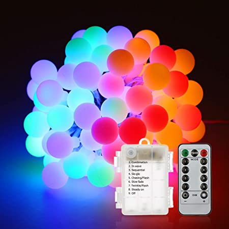 Comprar Cadena de Luces, Tomshine Guirnalda Luces 80LED 10M Bombilla Bola Decorativa Multicolor Batería Accionada Brillo Ajustable Luminoso de Exterior para la Fiesta de Navidad, Dormitorio, Jardín, Boda