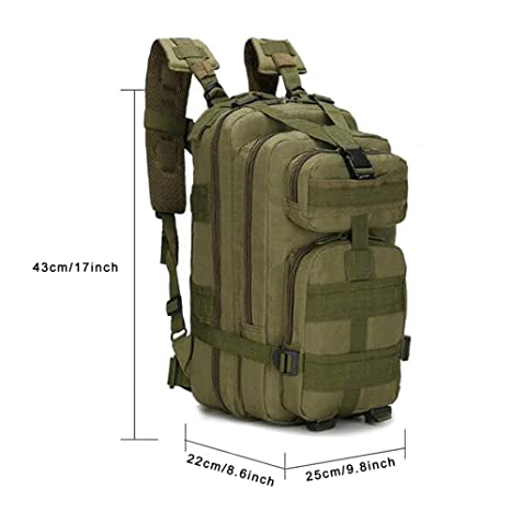 MINGPINHUIUS Tactical Backpack, Military Backpack 25L Army Rucksack MOLLE Assault Pack Tactical Combat Backpack for