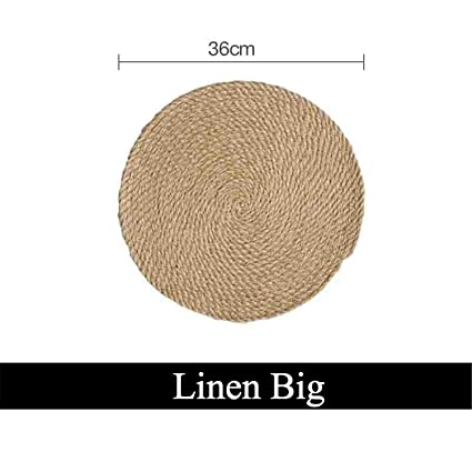04f68598f0f Image Unavailable. Image not available for. Color  Placemat Pad Coasters  Kitchen Table Mats Cotton Linen Knitting Bowl Mats Padding Mat Insulation  Pad Round
